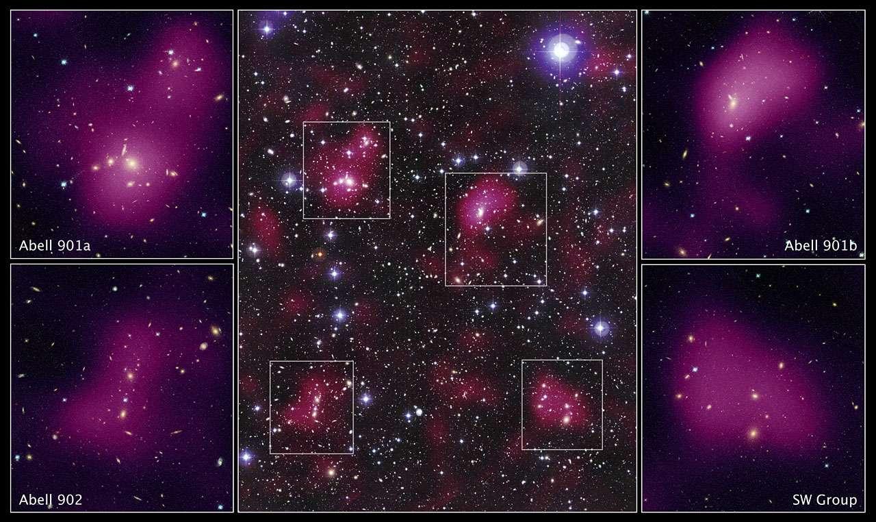 Une combinaison d'images prises par Hubble et depuis le sol montrant un superamas constitué de plusieurs amas galactiques faisant partie du catalogue d'Abell. En magenta, on a représenté la distribution de matière noire des amas, déduite de l'effet de lentille gravitationnelle faible qu'elle provoque. © Nasa, Esa, ESO