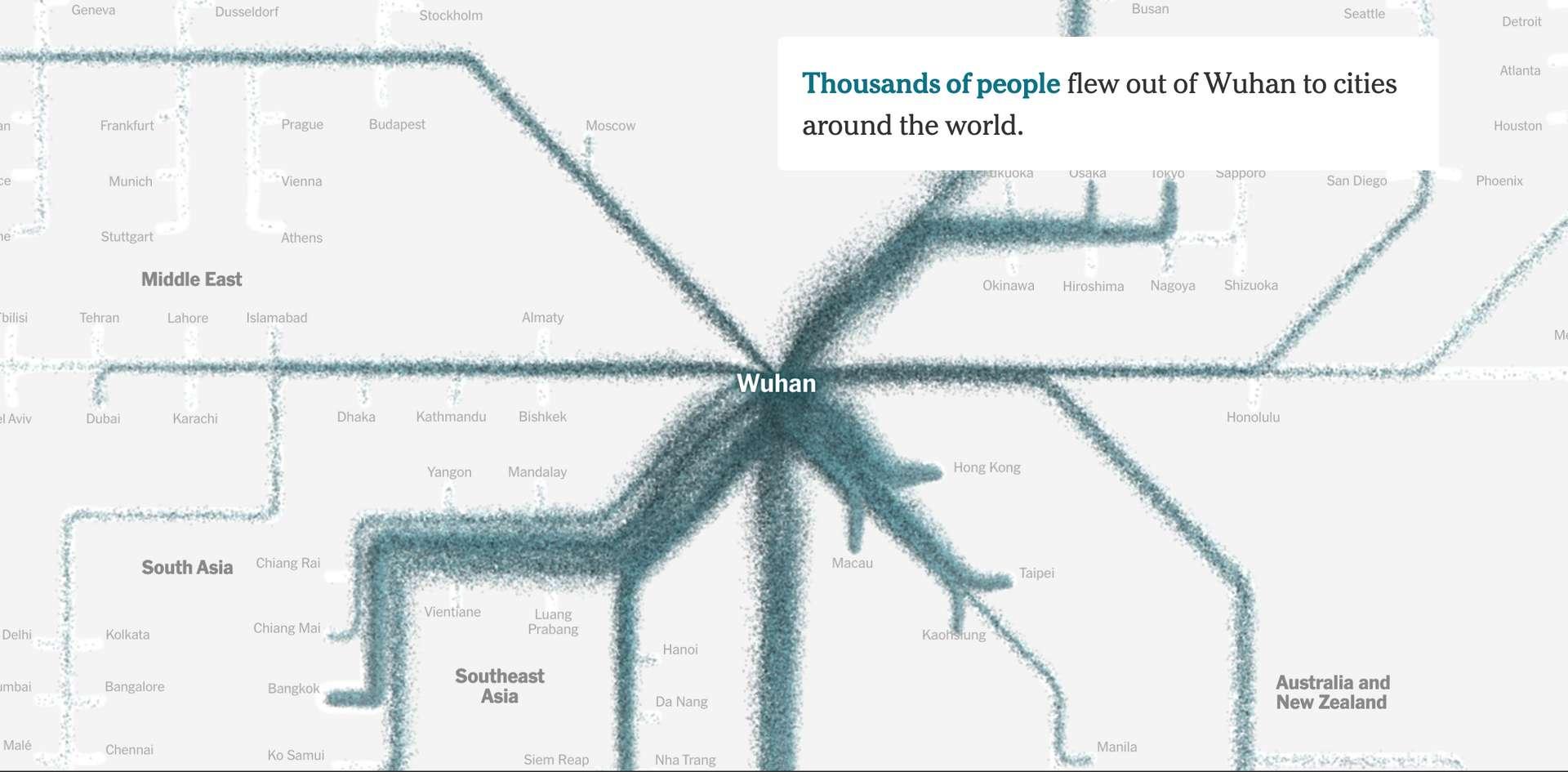 Un aperçu de la carte crée par quatre graphistes du The New York Times. © Jin Wu, Weiyi Cai, Derek Watkins, James Glanz, The New York Times