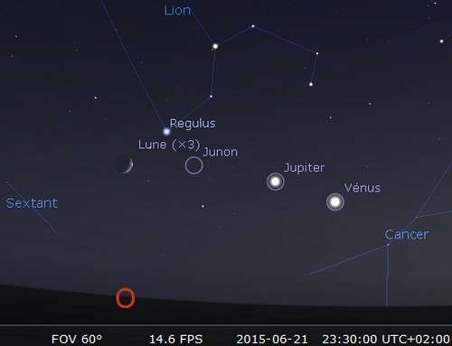 La Lune en rapprochement avec Régulus et Junon