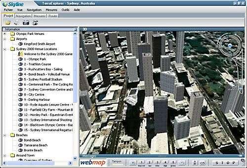 Géoportail 3D, vue de Sydney avec les bâtiments numérisés en relief.