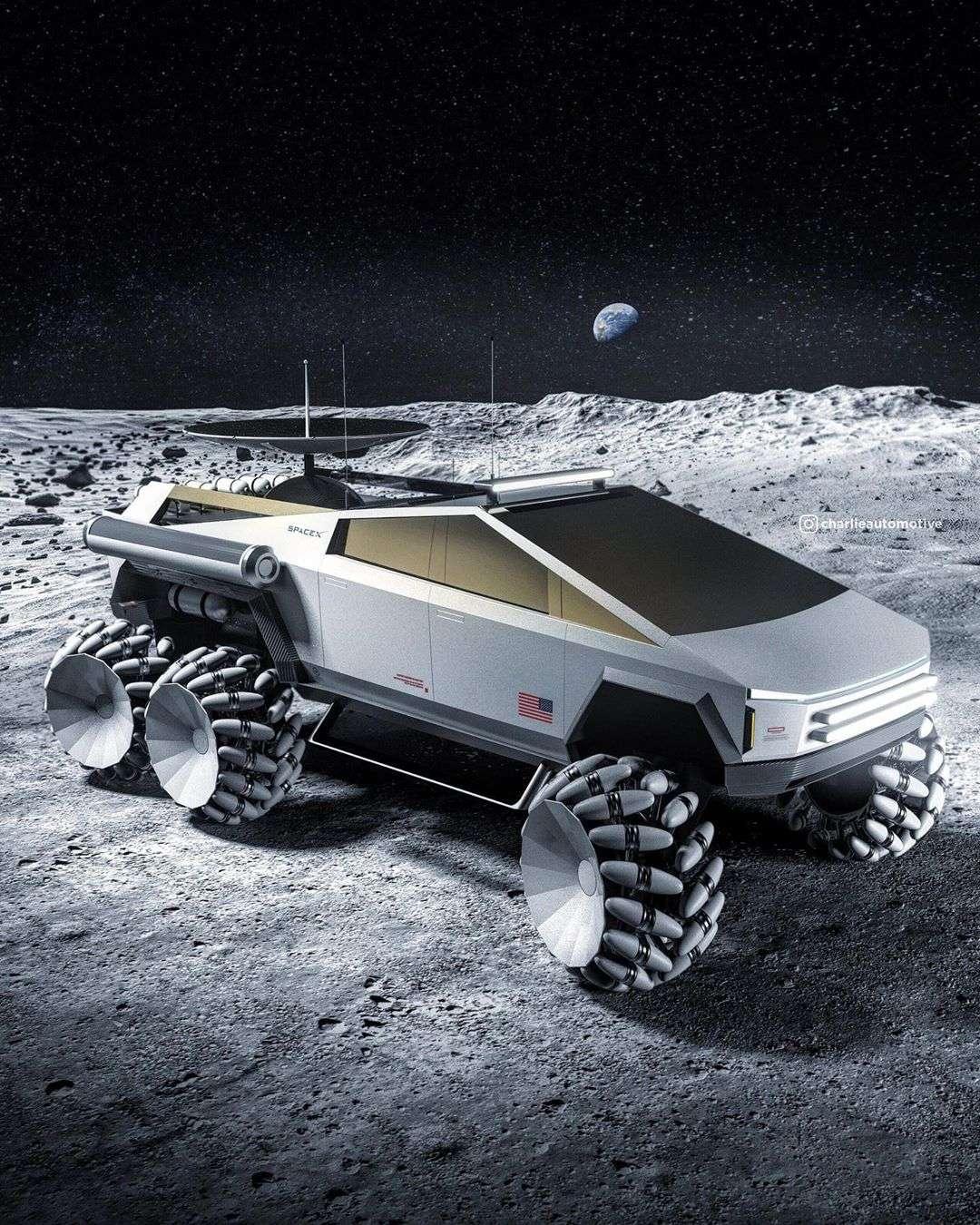 Le Tesla Cybertruck dans sa version lunaire poserait de nombreux défis techniques, à commencer par celui du poids. © Charlie Automotive