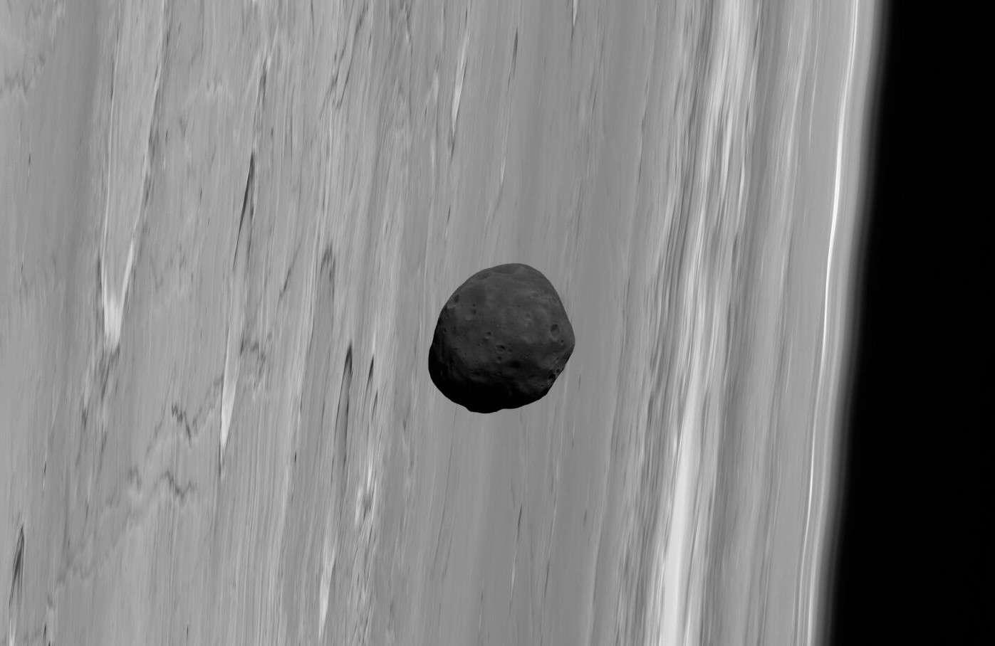 Phobos, un sombre satellite qui passe devant Mars. © G. Neukum (FU Berlin) et al./Mars Express/DLR/Esa