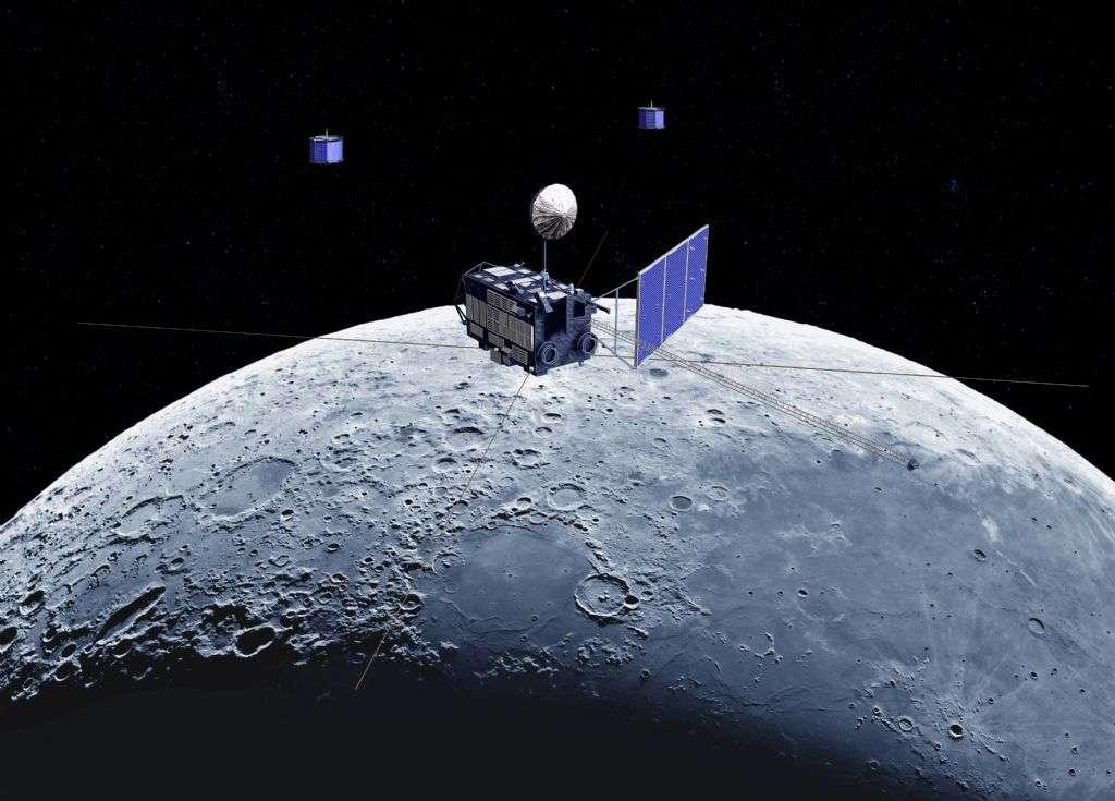 Une vue d'artiste de la mission Kaguya en orbite autour de la Lune. Crédit : Jaxa-Selene