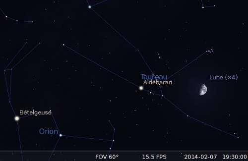La Lune en rapprochement avec les Pléiades