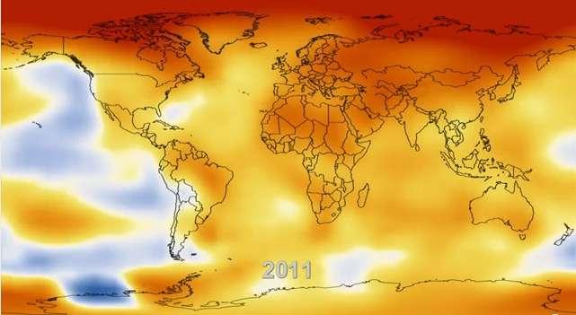 Le réchauffement climatique mis en évidence grâce à une vidéo de la Nasa. L'année 2011 est au moins 0,12 °C plus chaude que n'importe quelle autre année depuis 1880. © Nasa