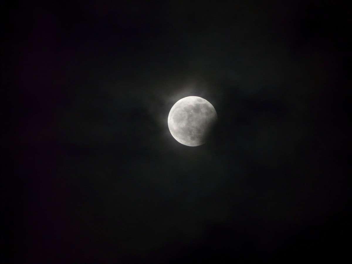 L'éclipse partielle de Lune le 31 décembre à son maximum. Crédit J-B Feldmann