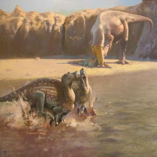 Emiliano Troco a imaginé le Sauroniops pachytholus en se basant sur la description faite par Andrea Cau. Il nous livre sa vision du dinosaure, ici en arrière-plan. Il mange un Spinosaurus juvénile. © Andrea Cau