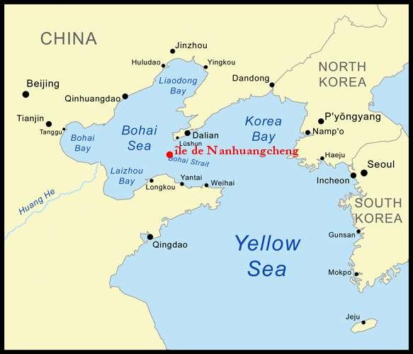 Les pêcheurs de l'île de Nanhuangcheng, dans le détroit de Bohai, ont été parmi les premiers à constater les dégâts de la marée noire.© Kmusser, Wikimedia commons attribution share-alike 2.5