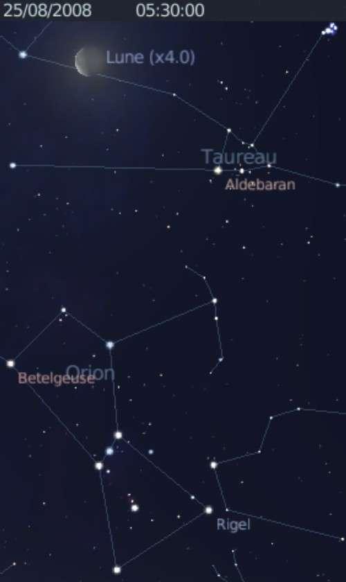 La Lune est en rapprochement avec l'étoile Aldébran