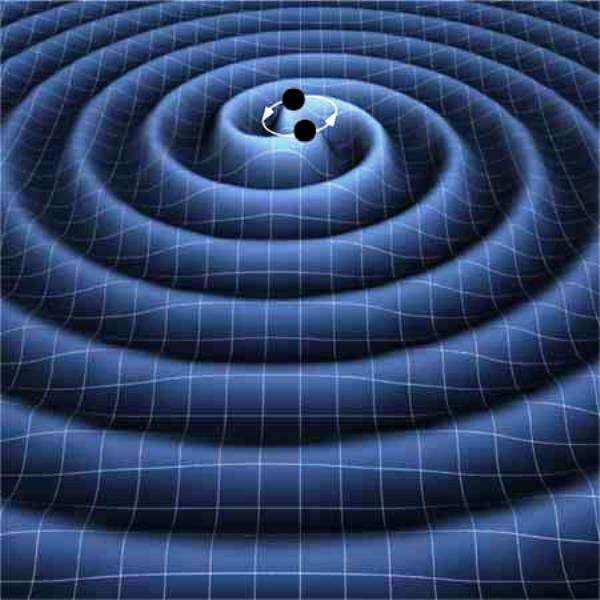 Vue d'artiste des ondes gravitationnelles se propageant dans le tissu de l'espace-temps et rayonnées par un couple de trous noirs spiralant l'un vers l'autre en perdant de l'énergie à la suite de l'émission de ces ondes. Celles-ci sont en mesure de déformer des étoiles et des planètes en les faisant vibrer. © Kip Thorne (Caltech), Timothy Carnahan (Nasa GSFC)
