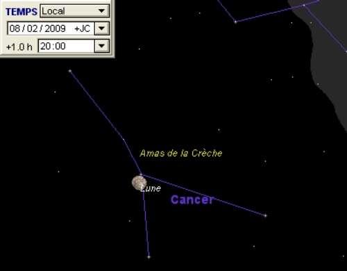 La Lune est en rapprochement avec l'amas de la Crèche