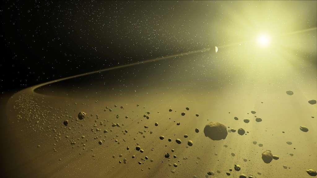 Image d'artiste d'un disque de débris entourant une étoile . © T. Pyle (SSC), JPL-Caltech, Nasa