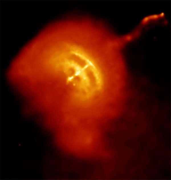 Une image du pulsar Vela situé à environ 800 années-lumière du Soleil. Le jet de matière observé s'étant sur un tiers d'année-lumière et les particules qu'il contient s'y déplacent à la moitié de la vitesse de la lumière. Crédit : Nasa/CXC/PSU/G. Pavlov et al.