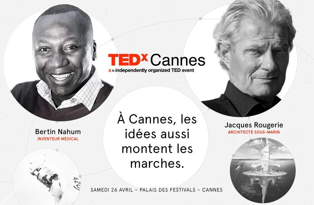 TEDxCannes réunira au Palais des festivals des personnalités imaginatives, qui ont des idées à revendre. On reconnaît ici Bertin Nahum, fondateur de Medtech, qui réalise des robots pour la chirurgie, et Jacques Rougerie, architecte spécialiste du milieu marin qui explore de nouveaux territoires depuis ses plus jeunes années. © TEDx Cannes