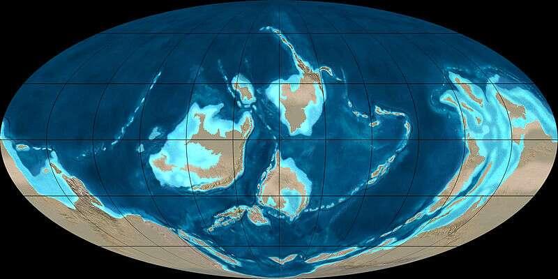 Position des terres émergées du globe durant l'Ordovicien supérieur, voici 450 millions d'années. Des masses continentales s'étaient rejointes au sud et formaient le supercontinent Gondwana. © Ron Blakey, NAU Geology, Wikimedia Commons, cc by sa 3.0