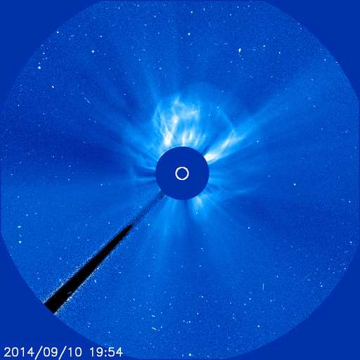 Éjection de masse coronale observée le 10 septembre, après la puissante éruption solaire de classe X1.6, dans le champ du coronographe Lasco-C3 de Soho. © Nasa, Esa, Soho