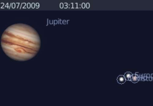 Le satellite Io occulte partiellement le satellite Europe