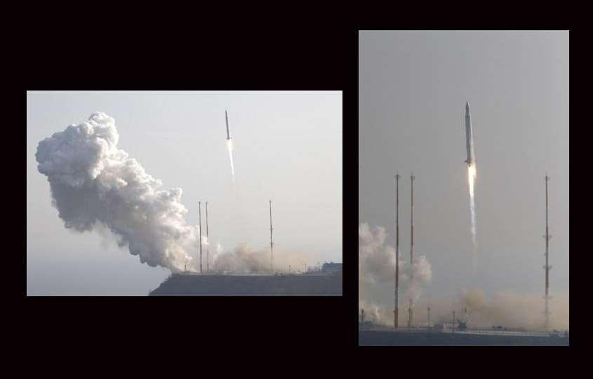 En images, le lancement de la fusée russo-coréenne KSLV-1, le mercredi 30 janvier 2013, à 7 h 00 TU. Après deux échecs en 2009 et 2010, la Corée du Sud touche enfin les étoiles ! © Kari