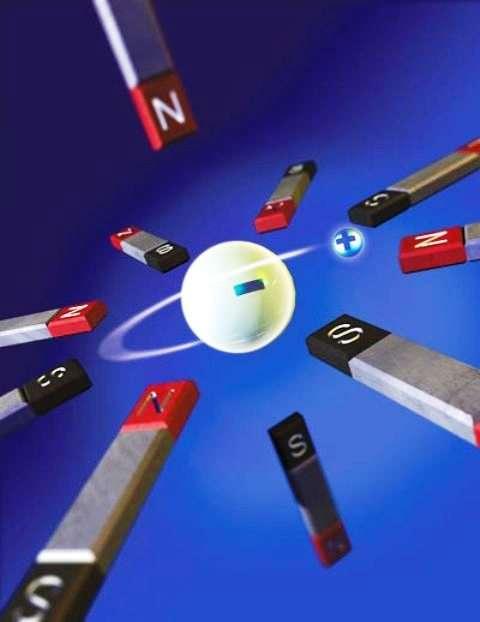 Une vue d'artiste d'un atome d'antihydrogène piégé par des aimants. © Katie Bertsche