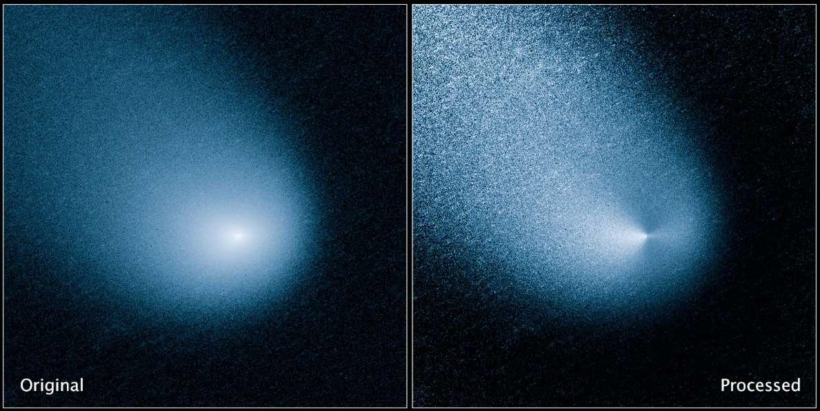 La comète Siding Spring (comète C/2013 A1) observée par le télescope spatial Hubble. L'image de droite a été améliorée et permet de voir ce qui semble être deux jets de poussières sortir de la surface cométaire. © Nasa, Esa, J.-Y. Li (Planetary Science Institute)