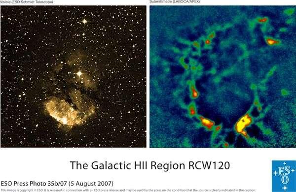 Comparaison entre une image de la région HII de RCW120 en lumière visible obtenue par le télescope Schmidt ALMA de l'ESO et dans la gamme submillimétrique par LABOCA. Crédit ESO.