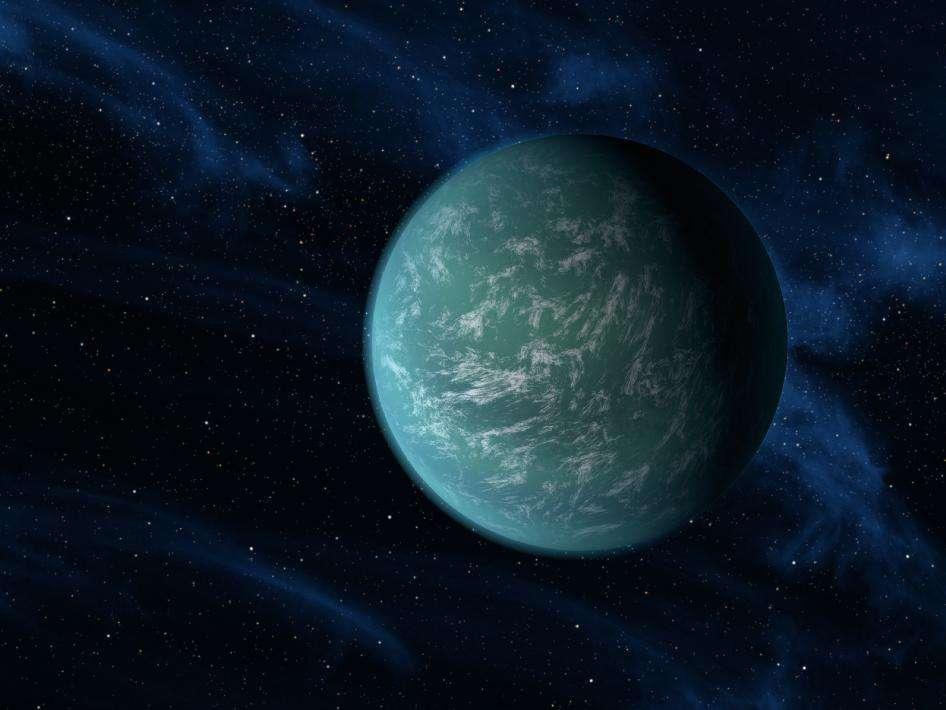 Une vue d'artiste de Kepler 22b. © Nasa/Ames/JPL-Caltech