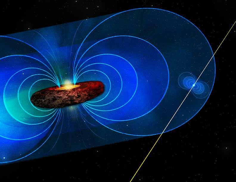 Cette image d'artiste montre, en bas à droite du trou noir supermassif au centre de la Voie lactée, le pulsar PSR J1745-2900. Il doit être situé à environ une demi-année-lumière du trou noir central, loin du disque d'accrétion en forme de tore contenant de la poussière et du plasma. Dans ce disque, des phénomènes magnétohydrodynamiques engendrent un puissant champ magnétique dont les lignes de champs sont représentées en bleu. © Bill Saxton, NRAO-AUI-NSF