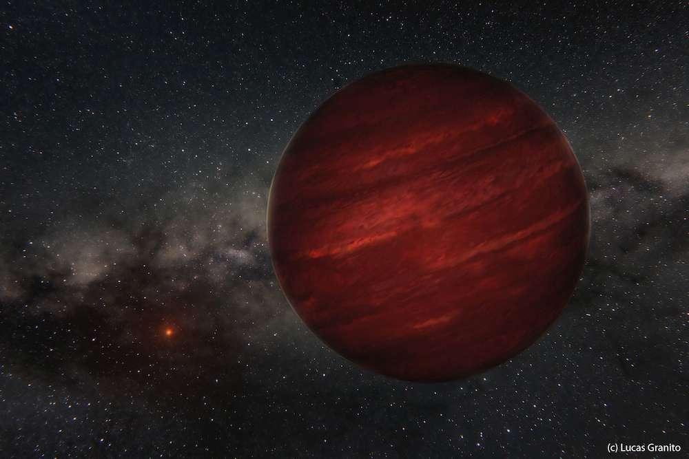 Illustration de GU Psc b, exoplanète près de 13 fois plus massive que Jupiter, gravitant autour de sa jeune étoile parent à 2.000 fois la distance Terre-Soleil. Si nous pouvions nous y rendre, une révolution complète durerait 80.000 années terrestres ! © Lucas Granito