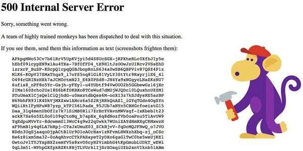 YouTube a été touché par une panne mondiale dans la nuit de mardi à mercredi. Le message ci-dessous apparaissait sur le site, annonçant qu'une erreur était survenue et qu'une équipe de singes bricoleurs hautement entraînés était en train de réparer le problème. © YouTube