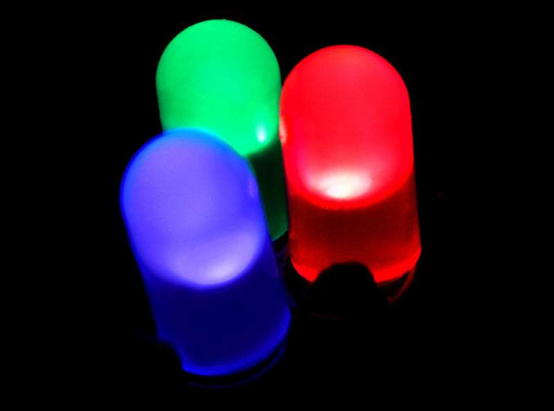 Led rouge, bleu et verte à la base de la production d'une lumière blanche. © PiccoloNamek, Wikimedia GFDL 1.2 CC (by-sa 3.0)