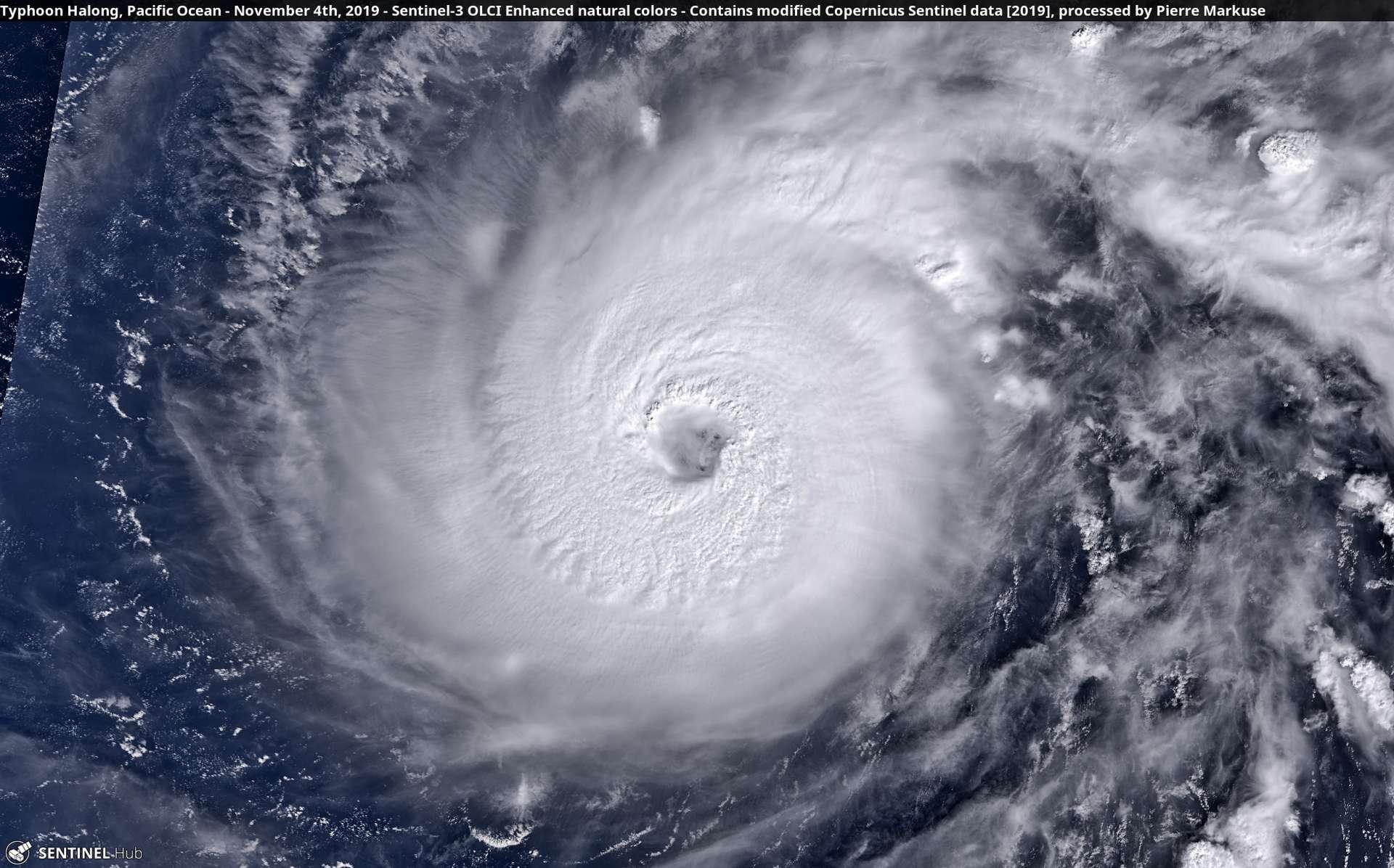 Le super-typhon Halong photographié par le satellite Copernicus Sentinel-1 au-dessus du Pacifique, le 4 novembre 2019. L'image a été retravaillée par Pierre Markuse © Copernicus Sentinel Data, Pierre Markuse