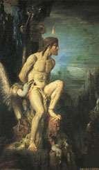 Prométhée, attaché par Zeus en punition de sa tromperie, se faisant dévorer le foie par un rapace. Prométhée par MOREAU(Musée Moreau, Paris)