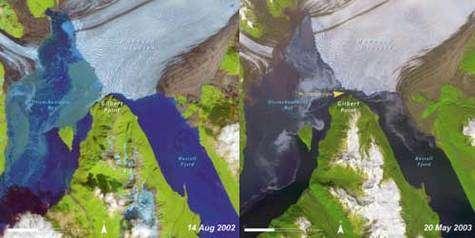 Recul du glacier Hubbard entre août 2002 et mai 2003