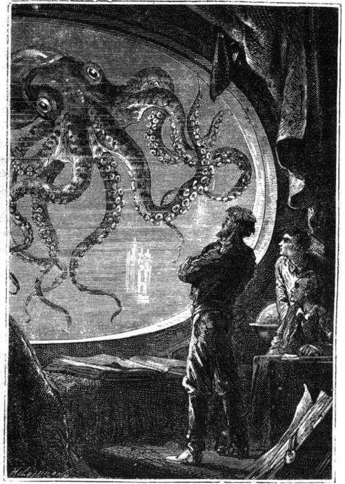 À l'instar de Jules Verne qui avait imaginé une pieuvre géante, Mark McMenamin suggère qu'un énorme céphalopode aurait tué les ichtyosaures retrouvés dans le Nevada © domaine public