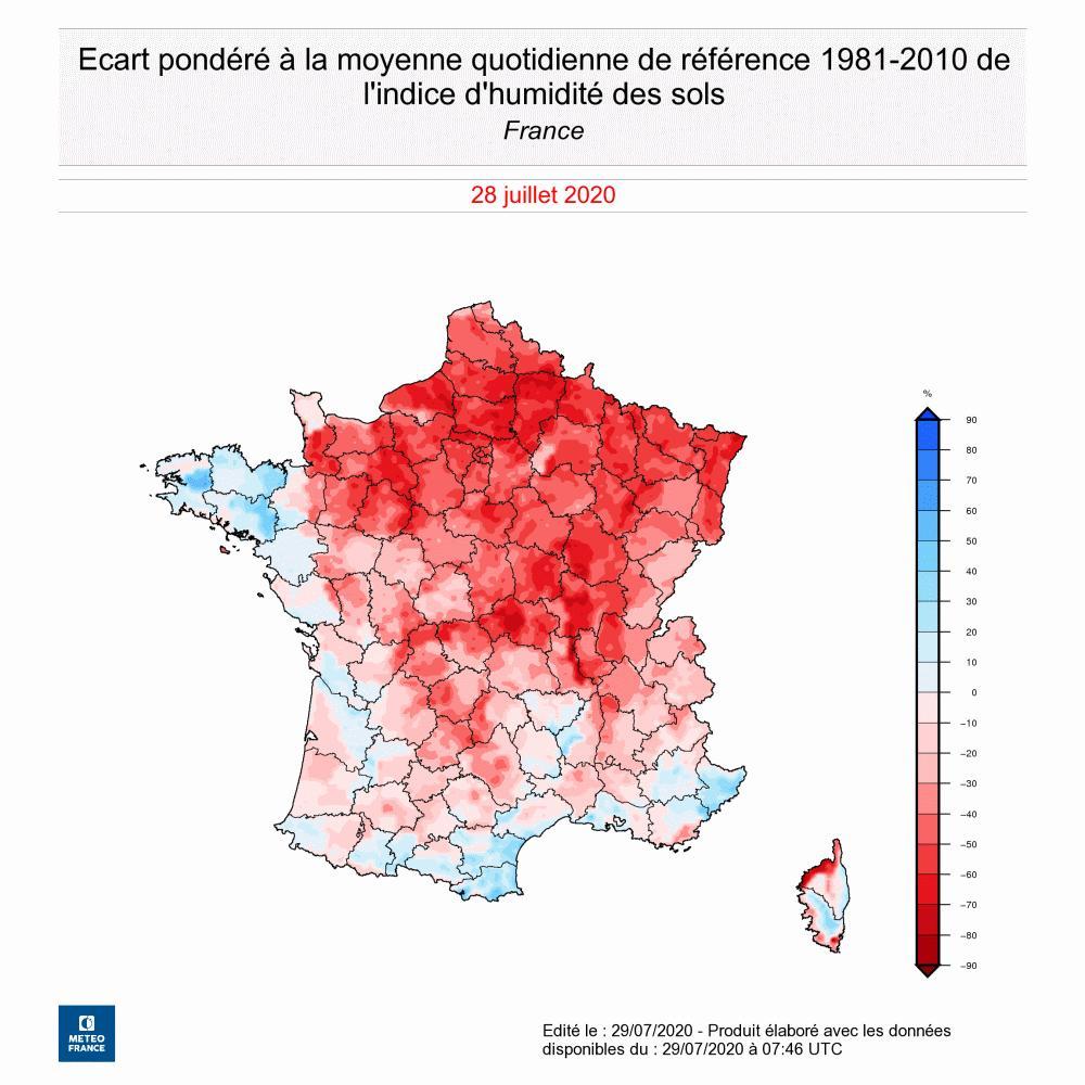 Écart de l'indice d'humidité des sols au 28 juillet 2020 par rapport à la moyenne quotidienne de référence 1981-2010. © Météo-France
