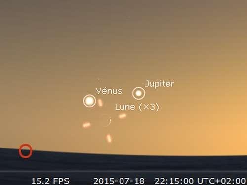 La Lune en rapprochement avec Jupiter et Vénus