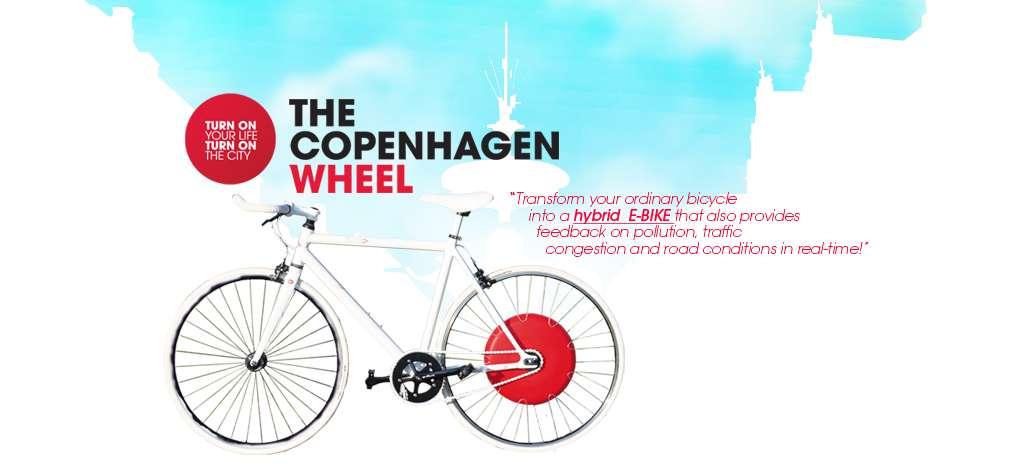 « Transformez votre vélo ordinaire en vélo hybride E-Bike qui donnera aussi des retours sur la pollution, les embouteillages et les conditions routières en temps réel ! » © Senseable Lab