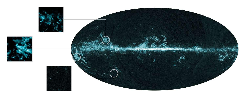 Cartes du ciel présentant la distribution du monoxyde de carbone, traceur des nuages moléculaires, détectée par l'instrument HFI du satellite Planck. Les grandes structures en filigrane sont liées des artefacts du traitement des données et n'ont rien de réel. De nombreux nuages moléculaires se trouvent dans des régions éloignées du plan galactique et étaient jusqu'alors inconnus. © Esa/Consortia HFI/LFI