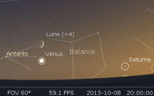 Le 08/10/2013 : la Lune en rapprochement avec Vénus et Antarès. © DR