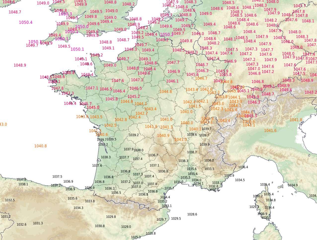 Pressions observées lundi 20 janvier 2020 à 11 h 30, heure à laquelle le record de 1049,7 hPa a été mesuré à Abbeville, dans la Somme. © Météo-France