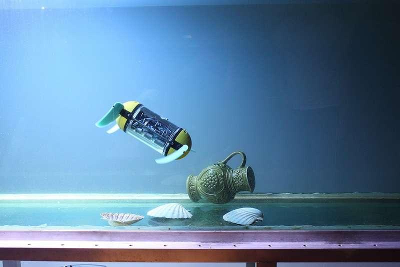 Grâce à ses quatre nageoires souples et indépendantes, le robot-tortue U-Cat offre une grande maniabilité. Contrairement à d'autres robots sous-marins équipés de propulseurs classiques, ses mouvements sont suffisamment légers pour ne pas soulever le limon qui pourrait obstruer la visibilité. © Centre de biorobotique, université de technologie de Tallinn