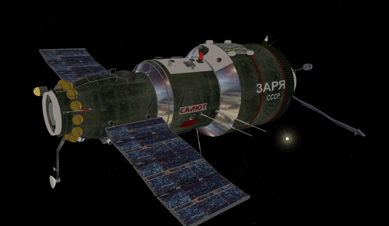 Saliout 1, première station spatiale. © Celestiasws