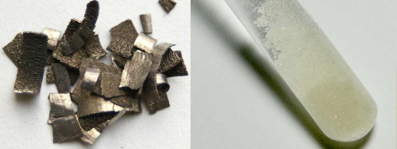 Le dysprosium (à gauche sous forme de copeaux) fait partie des terres rares. À droite, du sulfate de dysprosium, Dy2(SO4)3. © Materialscientist, Wikimedia Commons, CC by-sa 3.0 et images-of-elements.com via Wikimedia Commons, CC by 1.0