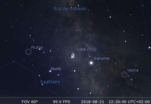 La Lune en rapprochement avec Saturne et Nunki