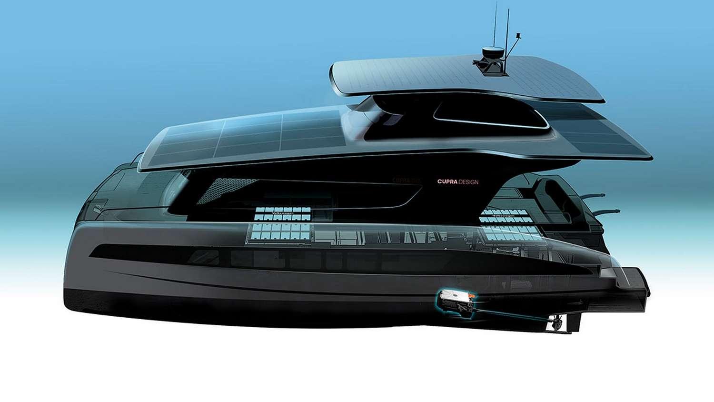 Le projet de bateau électrique solaire imaginé par Cupra pour Silent-Yachts. © Volkswagen