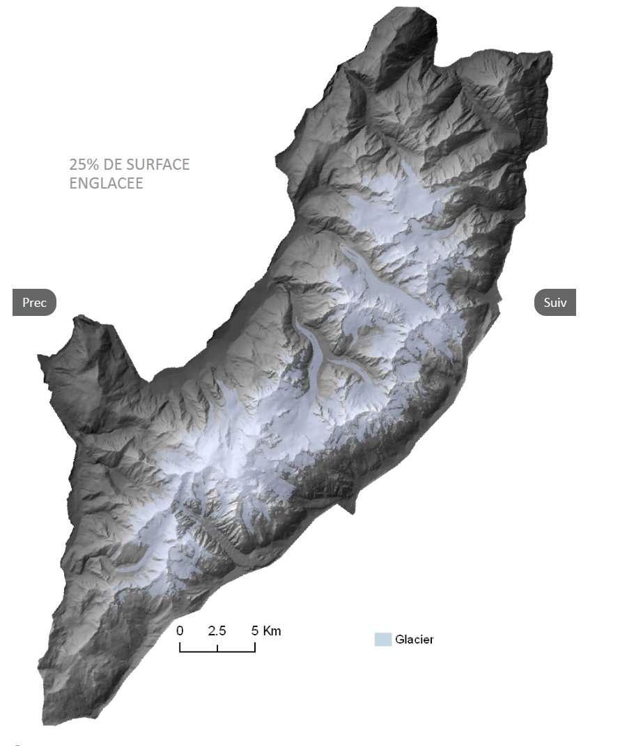 La cartographie est l'aspect le plus spectaculaire de L'Atlas du mont Blanc. Tout y est, comme cette carte de l'enneigement du massif. Mais la plus grande richesse est à chercher parmi les 194 études, accessibles par un moteur de recherche renvoyant sur des documents ou d'autres sites. On y découvrira les connaissances actuelles sur la biologie, la géologie, l'écologie et la météorologie du massif. © Atlas du mont Blanc