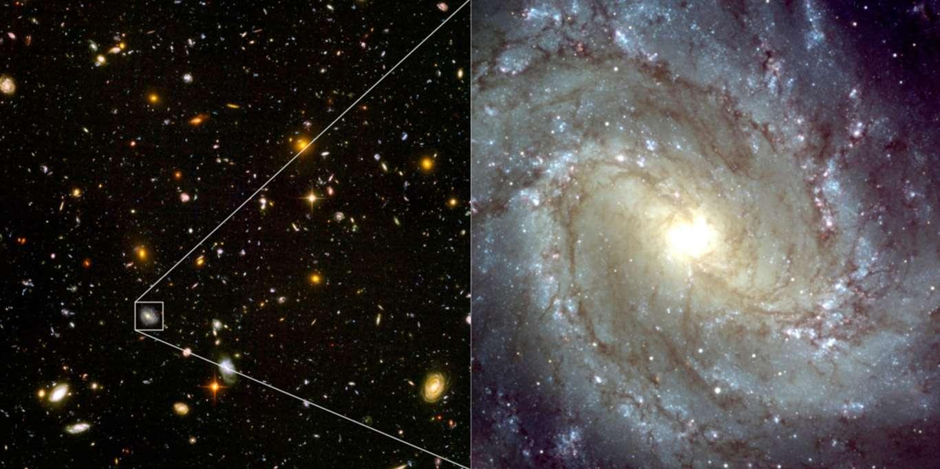 On s'attend à ce que l'E-ELT résolve les galaxies du champ profond obtenu par Hubble (HDF, Hubble Ultra Deep Field). Ces galaxies sont les premières de l'univers. © Nasa