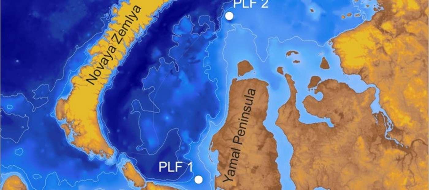 Les deux structures ressemblant à des pingos (PLF, pour Pingo Like Formation) découvertes en mer de Kara, entre la Russie et l'océan Arctique. Les deux contiennent du méthane mais en quantités très différentes. © Pavel Serov