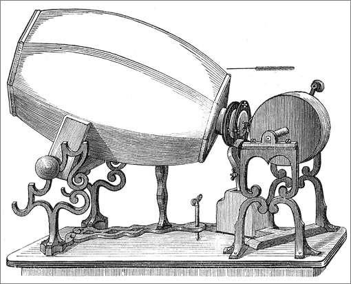 Le phonautographe de Edouard-Léon Scott de Martinville, modèle 1859 © Franz Josef Pisko, Die neuere Apparate der Akustik (Vienne, 1865)