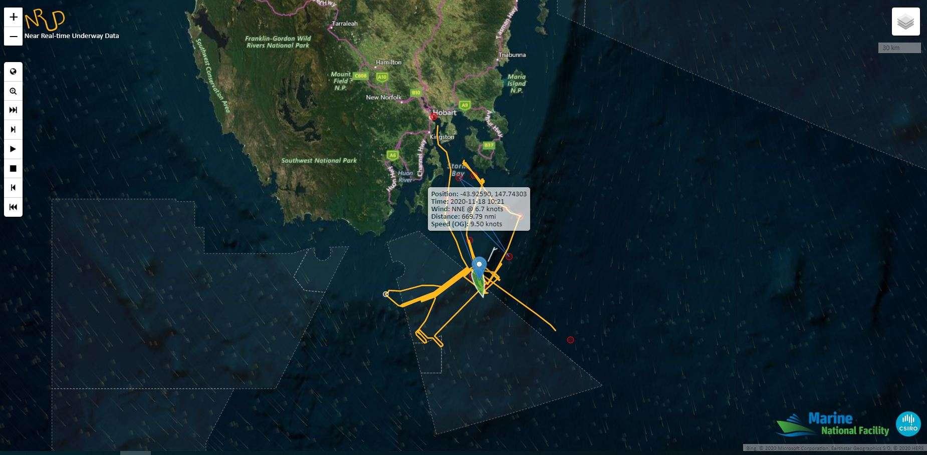 La météorite a été capturée vers 21 h 30 au large des côtes tasmaniennes par le navire de recherche du Csiro RV Investigator. © Csiro